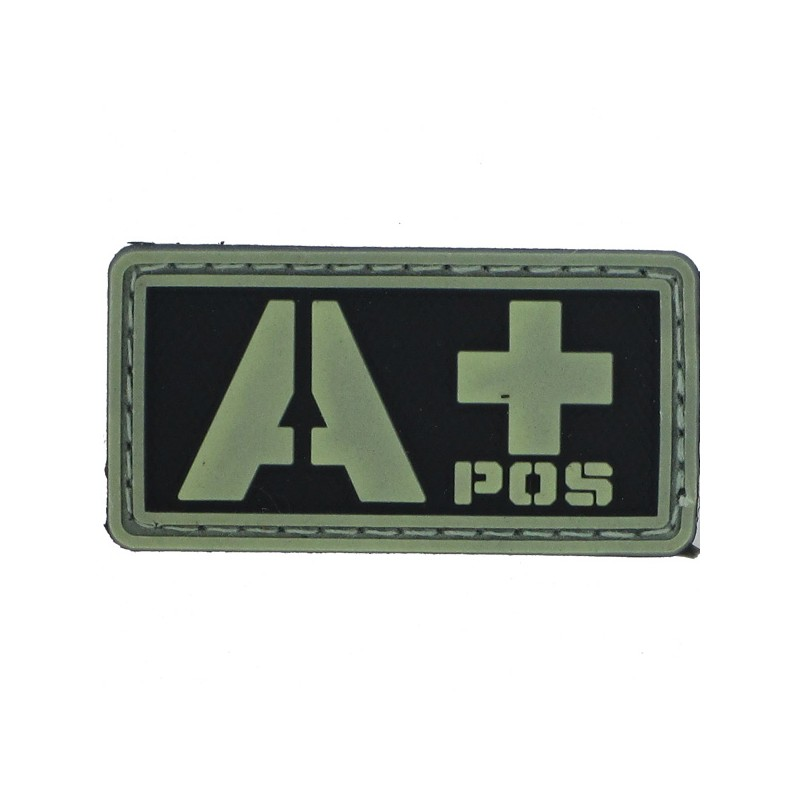 Patch PVC groupe sanguin A+ fond noir olive